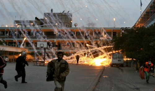White phosphorus being used on a UN building.